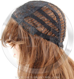 synthetic lace fron wig cap with adjustable straps in back