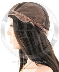 gluless ful llace wig cap with combs and adjustable straps in the the back