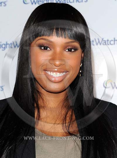 Jennifer Hudson Celebrity Inspired Silky or Yaki Bangs Lace Wig