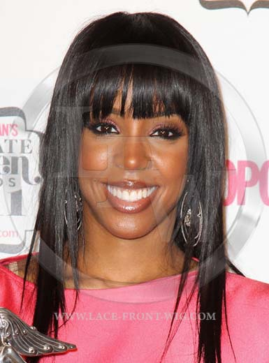 Kelly Rowland Celebrity Inspired Straight Lace Wig with Bangs