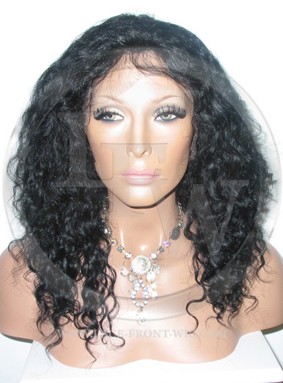 Curly Glueless Lace Wig Human Hair 14 Inch Color 1 - Jet Black