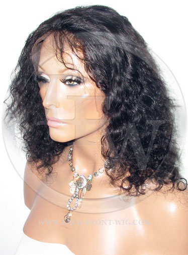 Curly Glueless Lace Wig Human Hair 10 Inch Color 1b - Off Black