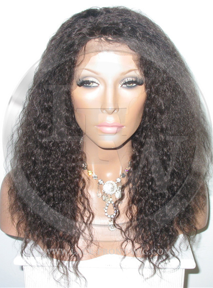 Curly Glueless Lace Wig Human Hair 14 Inch Color 2 - Dark Brown