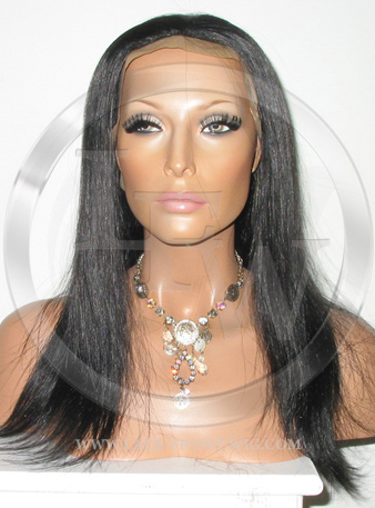Silky Straight Silk Top Lace Wig 14 Inch Color 1b - Off Black