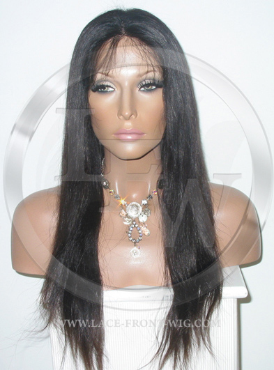 Silky Straight Silk Top Lace Wig 16 Inch Color 1b - Off Black