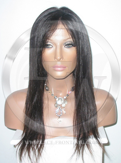 Silky Straight Silk Top Lace Wig 18 Inch Color 1b - Off Black