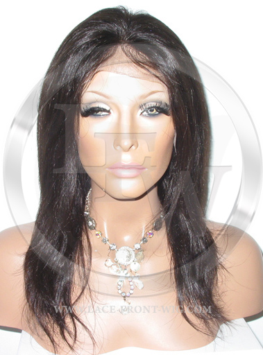 Silky Straight Silk Top Lace Wig 12 Inch Color 2 - Dark Brown
