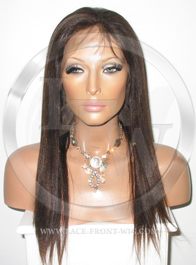 Silky Straight Silk Top Lace Wig 16 Inch Color 2 - Dark Brown