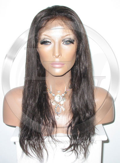 Silky Straight Silk Top Lace Wig 18 Inch Color 2 - Dark Brown
