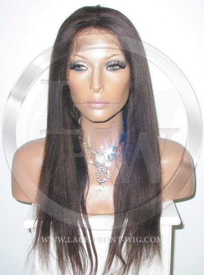 Yaki Straight Glueless Lace Wig Human Hair 18 Inch Color 2 - Dark Brown