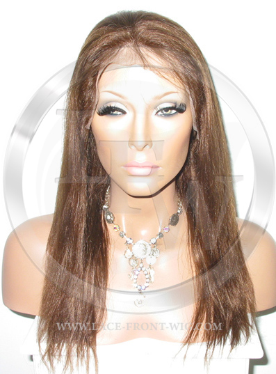 Yaki Straight Silk Top Lace Wig 14 Inch Color 4 - Medium Brown