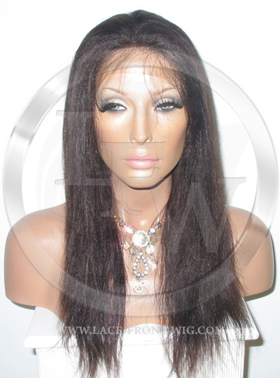 Yaki Straight Full Lace Wig Color 2 with Light Brown Highlights
