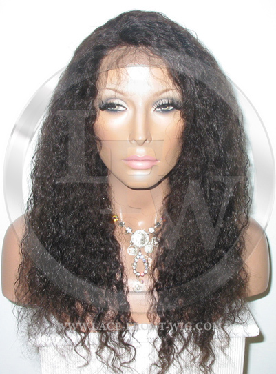 Medium Curly Full Lace Front Wig Color Dark Brown - 16 Inch