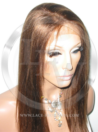 Yaki Straight Lace Front Wig Human Hair 18 Inch Color 4