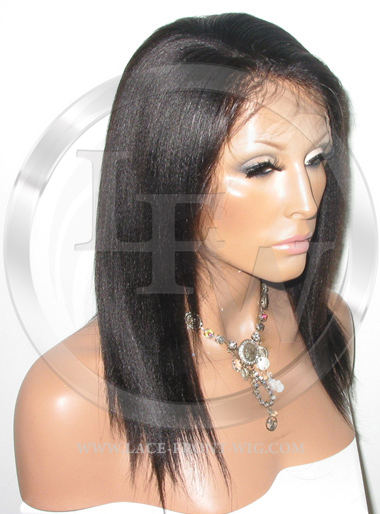 Yaki Straight Lace Front Wig Human Hair 12 Inch Color 1B
