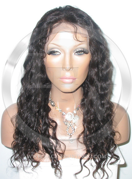 Deep Wavy Full Lace Front Wig Color Dark Brown - 16 Inch