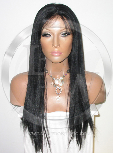 African American Yaki Full Lace Wig Color 1 - 18 Inch