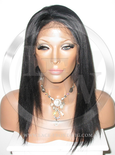 Indian Remy Straight Full Lace Front Wig Color Black - 14 Inch