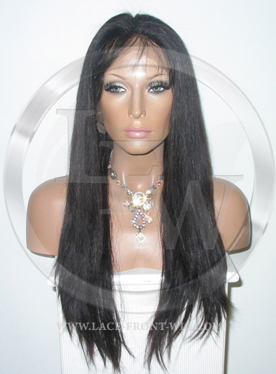 Silky Straight Lace Front Wig Human Hair 18 Inch Color 1B