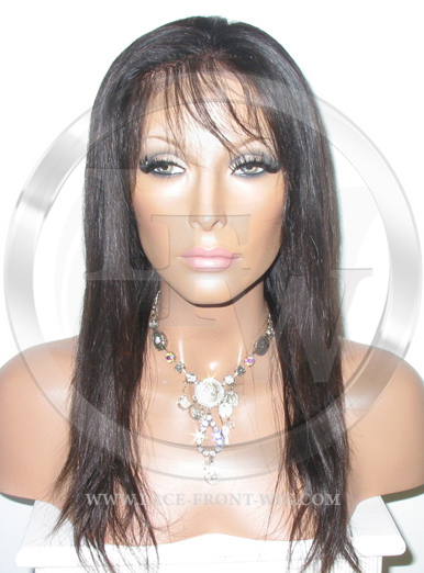 Straight Brown Remy Full Lace Front Wig Human Hair  - 14 Inch