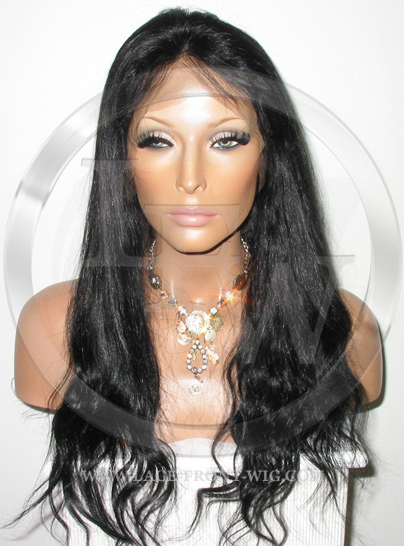 Bodywave Lace Front Wig Human Hair 18 Inch Color 1B