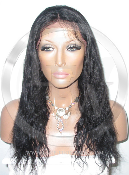 Black Bodywave Human Hair Full Lace Wig - 16 Inch