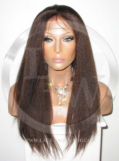 Brown Yaki Full Lace Front Wig Human Hair - 16 Inch