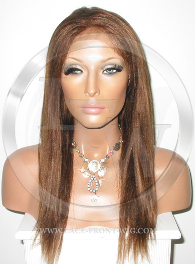 Straight Full Lace Front Wig Human Hair Color 4 Brown - 16 Inch