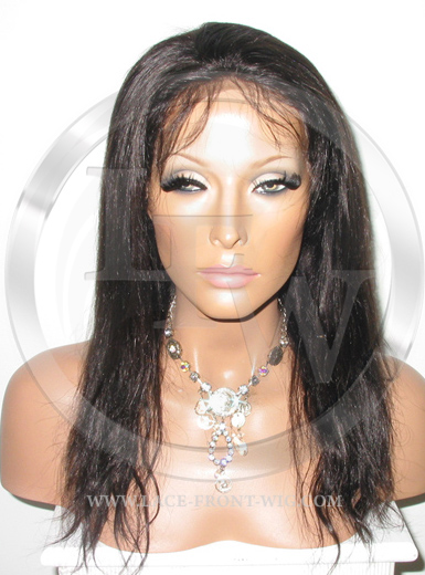 Straight Full Lace Front Wig Human Hair Color 1b - 12 Inch