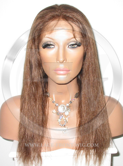 Natural Straight Full Lace Front Wig Human Hair Color 6 - 16 Inch