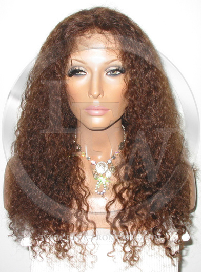 Heavy Curl Full Lace Front Wig Color 4  Medium Brown - 18 Inch