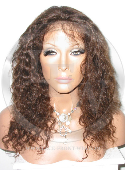 Curly Lace Front Wig Human Hair 16 Inch Color 4