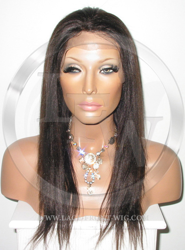 Yaki African American Full Lace Wig Color 2 - 14 Inch