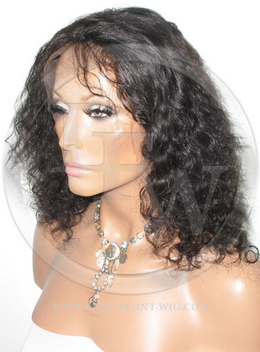 Curly Lace Front Wig Human Hair 12 Inch Color 1B