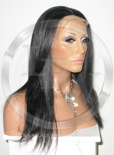 Silky Straight Lace Front Wig Human Hair 14 Inch Color 1B