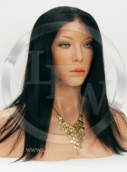 Silky Straight Synthetic Lace Front Wig 16 Inch Color 1