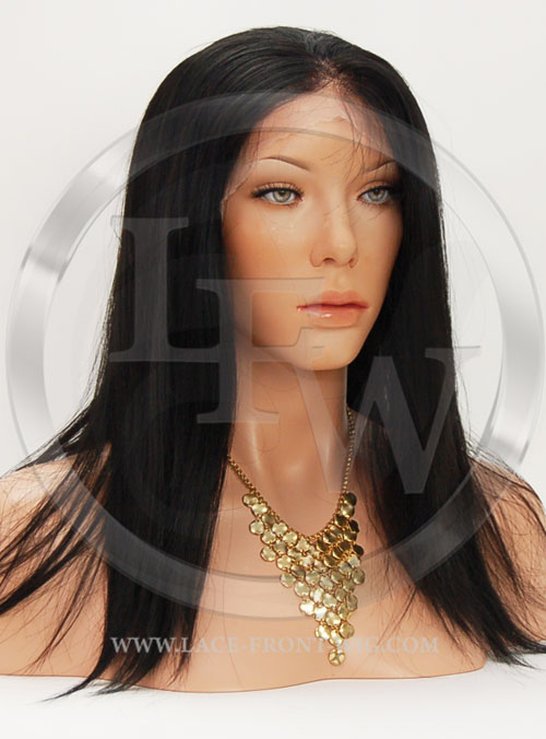Silky Straight Synthetic Lace Front Wig 16 Inch Color 1b
