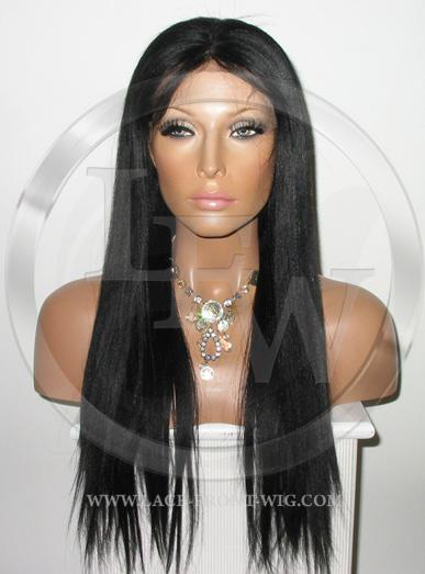 486c01086f6 Yaki Straight Full Lace Wig Human Hair Color 1 Black - 18 Inch
