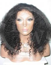 Curly Glueless Lace Wig Human Hair 14 Inch Color 1b - Off Black