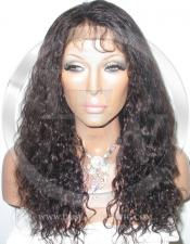 Curly Glueless Lace Wig Human Hair 16 Inch Color 1b - Off Black