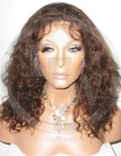 Curly Glueless Lace Wig Human Hair 12 Inch Color 4 - Medium Brown