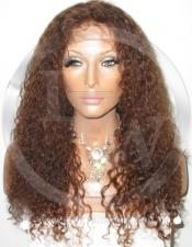 Curly Glueless Lace Wig Human Hair 16 Inch Color 4 - Medium Brown