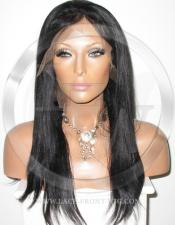 Silky Straight Silk Top Lace Wig 16 Inch Color 1 - Jet Black