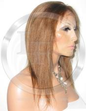 Silky Straight Glueless Lace Wig Human Hair 12 Inch Color 27 - Honey Blonde