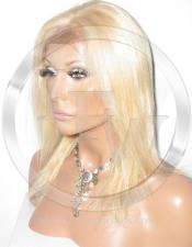 Silky Straight Glueless Lace Wig Human Hair 12 Inch Color 27/613 - Blonde Highlights