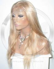 Silky Straight Glueless Lace Wig Human Hair 14 Inch Color 27/613 - Blonde Highlights
