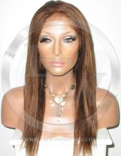 Silky Straight Silk Top Lace Wig 16 Inch Color 4 - Medium Brown