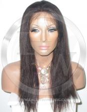 Yaki Straight Glueless Lace Wig Human Hair 16 Inch Color 2 - Dark Brown