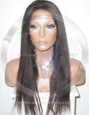 Yaki Straight Silk Top Lace Wig 20 Inch Color 2 - Dark Brown