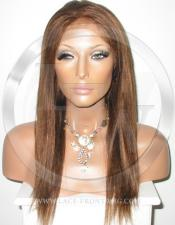 Yaki Straight Glueless Lace Wig Human Hair 16 Inch Color 4 - Medium Brown
